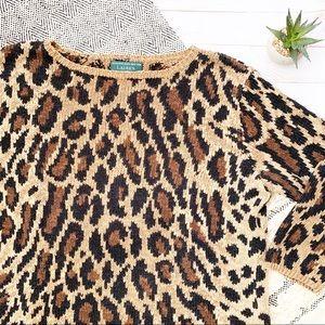 Lauren Ralph Lauren Cheetah Print Sweater Size S